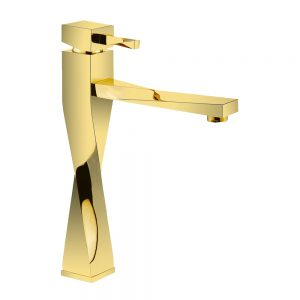شیر روشویی طلایی براق آترون مدل فلوریدا پایه بلند